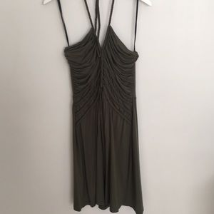 Calvin Klein Halter Dress Army Green Braid Detail